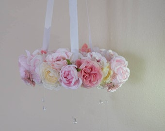 floral mobile, flower chandelier,