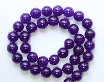 10mm Purple Beads Dark Purple Jade Rounds 15 inch Strand 38 Beads