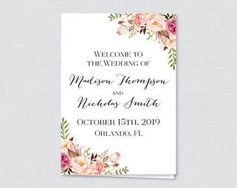 Printable OR Printed Wedding Program Booklet - Pink Floral Wedding Ceremony Programs, Personalized Program Template Rustic Flower 0004