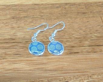 Earrings. Drop and dangle. Blue. Dots. Dotty earrings. Gift for her