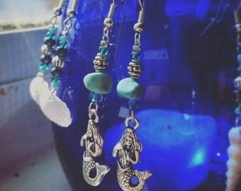 Mermaid Earrings Turquoise beach style
