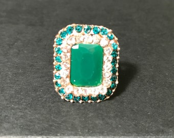 Indian Jewelry - Indian Ring - Emerald and Diamond Ring - Bollywood Jewelry - Statement Jewelry - Cocktail Ring - Fashion Jewelry
