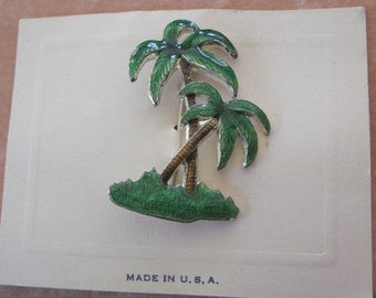 Tropical Deco Enamel Palm Tree Pin Old Warehouse Stock