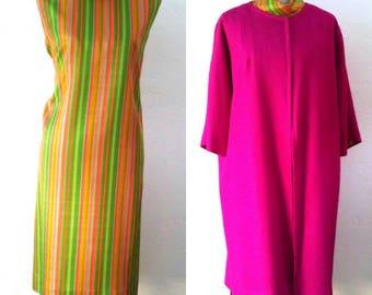 Vintage 1960's 2 Piece Mod A-Line Shift Dress & Matching Coat.Vibrant spring dress set, L/XL
