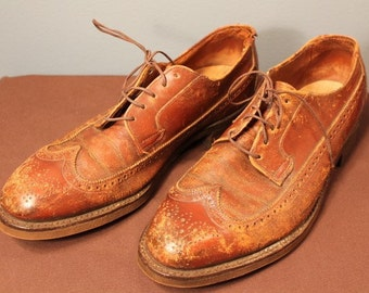 Distressed 1950's Leather O'Sullivan's Wingtip Oxford Shoes Men's Size 8