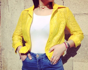 60s vintage cropped embroided summer jacket bright yellow