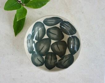 Ceramic bowl/green leaf pattern/housewarming gift 13 cm/5 inc