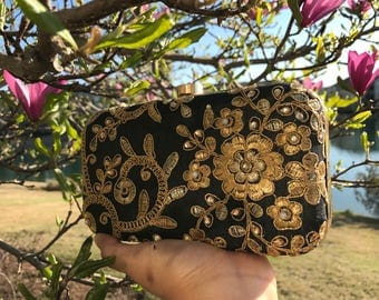 Black box clutch,black and gold box clutch, black evening bag, black floral clutch,black party purse, gold clutch, black clutch bag