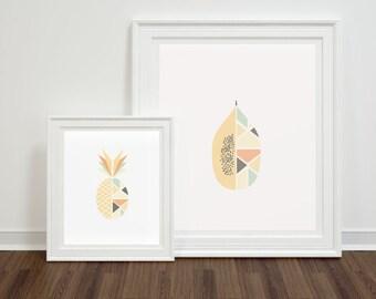 Tropical Fruit Prints - Modern Minimal Download - 2 Prints, 2 sizes