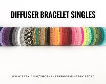 Essential Oil Diffuser Bracelet Singles Only ~ Women Men Girls Boys ~ Braided Herringbone ~ 1 Handmade Vegan Faux Leather Diffusing Bracelet