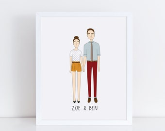Custom Couple Portrait, Custom Family Portrait, Custom Illustration