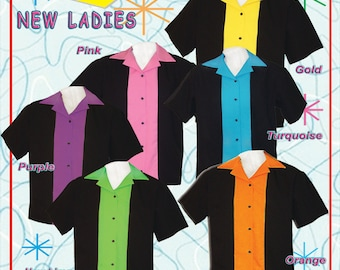 Womens Bowling Shirts - Ladies Retro Style Shirts - Free Shipping