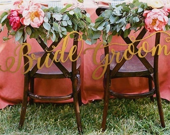 Wedding Chair Sign for Reception - Chiavari Chair Decor - Wedding Chair Signs Decoration - Chair Signs for Wedding - Bride/Groom