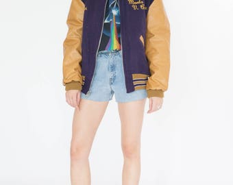 Vintage 80s Purple and Yellow Varsity Jacket