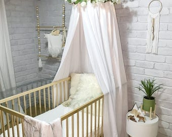 Canopy tent in white, pink, beige or grey for baby or kids, use as cot canopy, crib canopy, bed canopies or a reading nook. Nursery decor.