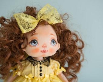 Textile doll, rag doll, fabric doll, cloth doll, art doll, interior doll, OOAK doll, home decor, yellow, vintage doll, doll - AliceMoon #52