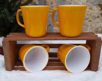 Vintage Mustard Yellow Milk Glass Corning Coffee Mugs   Retro   Mid-Century