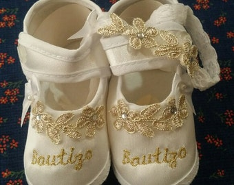 Baby Girls Baptism Bautizo Gold & White Bow Satin Crib Shoes Set w Headband,Baby Booties,Mary Janes, Shoes, Christening Wear,Vintage Shoes