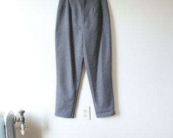 Gray and White grid High Waist cigarette pants