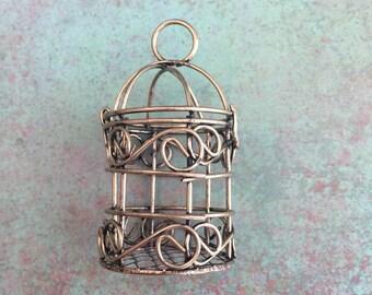 Unique Bird Cage Pendant, Antique Bronze, Nickel Free, Lead Free