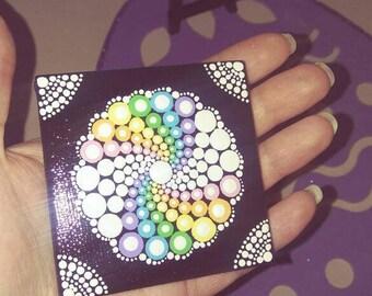 Hand-painted Rainbow Mandala Canvas w/ Mini Easel