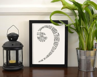 Bass Clef Beethoven Word Art Print | Printable Art | Music Art | Music Lover | Treble Clef | Classical Music