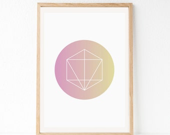 Geometric Print, Circle Print, Pink Poster, Modern Wall Decor, Instant Download Art, Pink Yellow Art, Geometric Art, Geo, Modern Printable