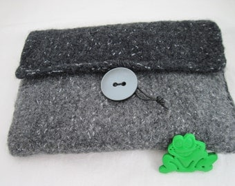 Clutch anthracite knit + felt bag felted wool Lurex