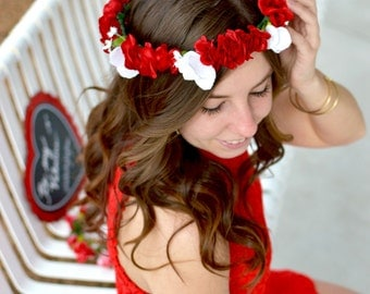 "The ""Cupid's Heart"" floral halo crown // red wedding, medieval crown, bridesmaid crown, red and white flower crown, birthday crown"
