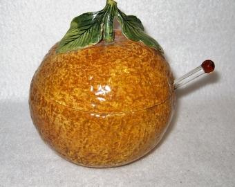 Ceramic Textured Orange Jam Jar with Lid