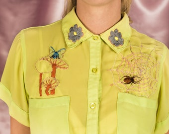 Nature Gal Sheer Embroidered Chartreuse Button Up Blouse