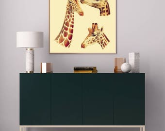 Vintage Giraffe Poster Art Print, Antique Giraffe Illustration, Giraffe Wall Art, Giraffe Artwork, Animal Portrait, Nursery Animals