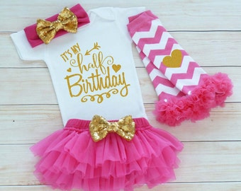 Baby Girl Half Birthday Bodysuit, Half Birthday Girl, 6 Month Birthday, Cake Smash Outfit, Half Way To One Outfit, Half Birthday Shirt, 1/2