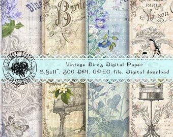 Birds Digital Paper, Shabby Chic Paper, Flowers Digital Paper, Vintage Digital Paper, Scrapbooking Ephemera