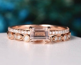 Rose Gold Engagement Ring Antique Diamond Half Eternity Wedding Band Emerald Cut Morganite Bridal Set Anniversary Gift for Her Dainty Unique