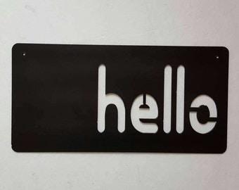 Metal Wall Art. Metal Sign. Hello Sign. Metal Hello. Black Hello Sign. Metal Decor. Rustic Metal Decor. Home Decor. Ready to Ship!