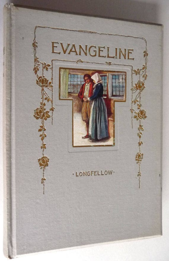 Evangeline by Henry Wadsworth Longfellow 1856 Poetry Poem Verse Antique Vintage HC Hardcover w/ Pictorial Front