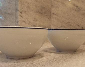 2 Royal Limoges France Coupe Cereal Bowls in R6L1 Blue Trim