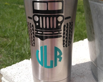 Jeep Tumbler/Jeep Cup/Jeep Tumbler with Name/Jeep Tumbler Monogram/Ozark Trail with Jeep/Jeep Gift/Jeep w/ Initials Cup/Jeep Stuff/Jeep