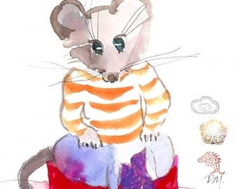 "Small children's art, original watercolour gouache, ""Max Mouse"""