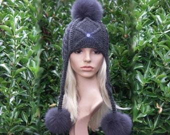 Bobble Hat Beanie winter Hat Cap with real fur PomPoms ski Hat ear flaps