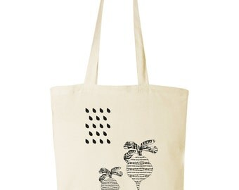 tote bag with silkscreen radish