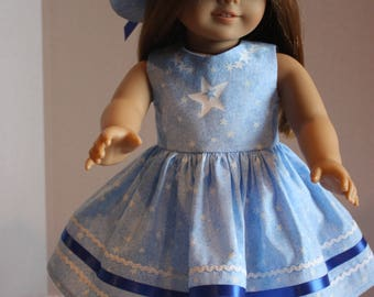 Blue dress and matching hat, American Girl dress, Fits American Girl 18 inch doll