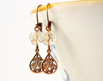 filigree copper earrings with transparent fact and drops