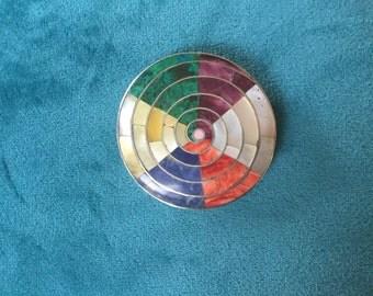 950 Silver and semiprecious stone inlay spiral brooch