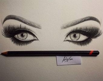 Makeup Eyes, A4 Original Illustration