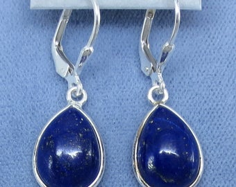 Natural Lapis Lazuli Simple Pear Shaped Leverback Earrings - Sterling Silver - 181550 - Free Shipping to the USA