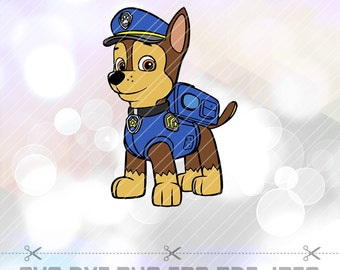 SVG DXF Paw Patrol Chase Layered Cut Files Cricut Designs Silhouette Cameo Party Decoration Clip art Vinyl Decal Tshirt Crafting Stencil