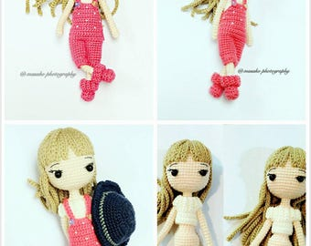 Handmade Crochet Doll with Pink Overall and Off-Shoulder (with hat)
