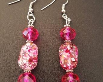 Pink splatter crystal beaded drop dangle earrings with silver detail